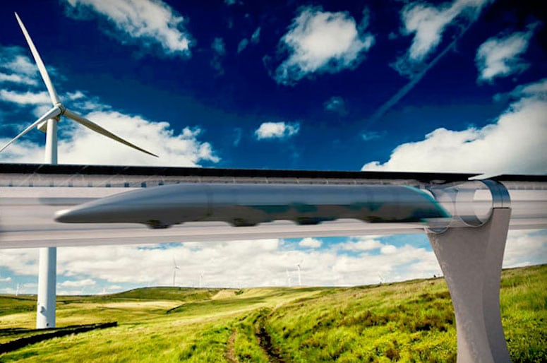 A rendering of the Hyperloop's passenger pod and elevated track. Courtesy of Hyperloop Transportation Technologies.
